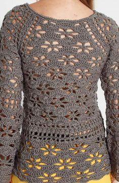 Crochet sweater dress pattern simple 41 Ideas for 2019 Crochet Jumper, Crochet Skirts, Crochet Cardigan Pattern, Crochet Jacket, Crochet Blouse, Cotton Crochet, Easy Crochet, Crochet Clothes, Crochet Tops