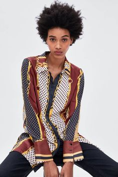Zara Looks, Skinny Jeans Style, Textiles, Blouse Vintage, Zara Women, Scarf Styles, Get Dressed, Fashion Prints, Printed Shirts