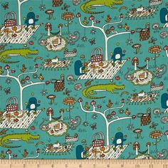 Birch Organic Picnic Whimsy Picnic Sky from @fabricdotcom  Designed by Rebekah Ginda for Birch Organic Fabric, this GOTS certified organic cotton print fabric is perfect for quilting, apparel and home décor accents. Colors include navy, green, dark orange, cream and a teal background.