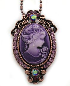Amazon.com: Lavender Purple Cameo Pendant Necklace Charm Antique Bronze Lady Cameo Fashion Jewelry: Jewelry