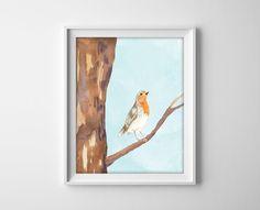 Watercolor Bird on a Branch Art Print  Bird  Tree by BySamantha, $10.00