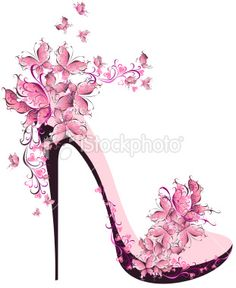 Illustration of Shoes on a high heel decorated with butterflies vector art, clipart and stock vectors. Pretty In Pink, Shoe Sketches, Fashion Sketches, Floral High Heels, Floral Sandals, Barbie Mode, Illustration Mode, Illustrations, Shoe Art