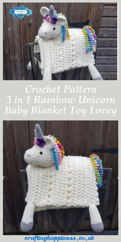 Crochet Pattern 3 in 1 Rainbow Unicorn Baby Blanket Toy Lovey - Crafting Happiness baby toys patterns ideas Rainbow Unicorn Folding Baby Blanket Crochet Pattern Crochet Blanket Patterns, Baby Blanket Crochet, Baby Patterns, Crochet Lovey, Crochet Baby Blankets, Crochet Unicorn Pattern, Crochet Granny, Easy Knitting Projects, Crochet Projects
