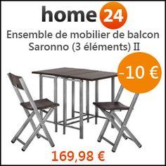 #missbonreduction; 10€ de remise sur l'Ensemble de mobilier de balcon Saronno (3 éléments) II chez Home24. http://www.miss-bon-reduction.fr//details-bon-reduction-Home24-i854755-c1829112.html
