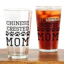 Chinese Crested Mom (Distressed) Drinking Glass for