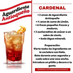 ¡Aguardiente Antioqueño combina con todo! #Aguardiente #Antioqueño #Coctel #Cocktail #Cardenal Stevia, Non Alcoholic Drinks, Beverages, I Need A Drink, Bartender, Tequila, Cocktail Recipes, Bon Appetit, Happy Hour