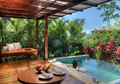 Stay in the most exclusive suites & bungalows in Costa Rica on The Ultimate Holiday Vacation Package. Costa Rica vacation packages for over 27 years! Small Swimming Pools, Small Backyard Pools, Small Pools, Swimming Pool Designs, Small Backyards, Costa Rica Vacation Packages, Costa Rica Travel, Tropical Patio, Tropical Plants