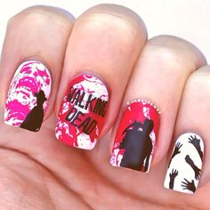 The walking dead nails, halloween nails, zombies, blood,