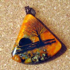 Fused Glass Pendant Glass Jewelry Nature Scene by GlassMystique, $30.00