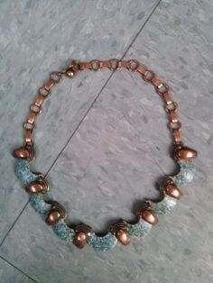 Vintage 1950s Copper Enamel Necklace Modernist Heavy Link 2014J17