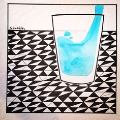 It's only a glass of water  available at Spazio Papel Milan  #water #hydrateyourself #illustration #blackfriday #blackandwhite #small #wave