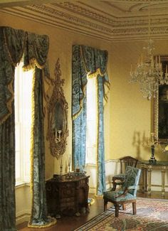 View of desk area in late afternoon (note the glass of wine) in Neoclassical miniature room.