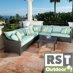 @Overstock.com - RST Outdoor Bliss 6-Piece Corner Sectional Sofa and Coffee Table Patio Furniture Set  - This hand woven, rich polyethylene wicker set provides a stunning contrast to any landscaping back-drop. This PE wicker is cool to the touch and retains its deep luster no matter how long it has been exposed to the sun.  http://www.overstock.com/Home-Garden/RST-Outdoor-Bliss-6-Piece-Corner-Sectional-Sofa-and-Coffee-Table-Patio-Furniture-Set/7630300/product.html?CID=214117 $2,799.99