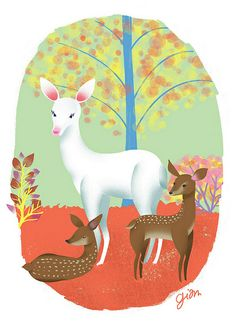 Giovana Milanezi Nature Illustration, Cute Illustration, Animal Drawings, My Drawings, Le Totem, Animal Puzzle, Deer Art, Oh Deer, Whimsical Art