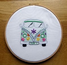 CAMPERVAN Finished example from set of 3 Patterns. Hand Embroidery: Campervan, Owl, Heart