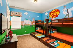 Kids can join Phineas and Ferb on their quirky new project or help Agent P foil Dr. Doofenshmirtz's latest evil plot in this bedroom in 1120 Watson Ct