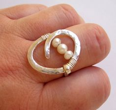Pearl Engagement Ring - Pearl Wedding Ring - Wire Wrapped - Hammered Sterling Silver - Big Circle Abstract Oval Modern Ring.