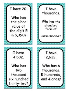 FREE Place Value-I Have Who Has Cards go through the thousands place