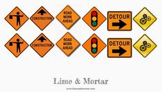 Road Signs for Construction party - Free Printable