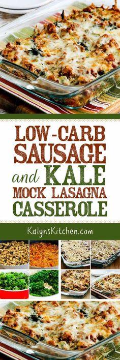 Low-Carb Sausage and Kale Mock Lasagna Casserole found on KalynsKitchen.com