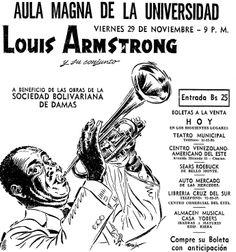 Louis Armstrong en Venezuela. Publicado el 28 de noviembre de 1957.