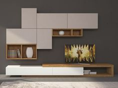 Modern Italian Wall Unit Velvet 102 by Artigian Mobili Living Room Wall Units, Living Room Tv Unit Designs, Living Room Storage, Living Room Modern, Home Living Room, Living Room Decor, Wall Storage, Tv Wall Units, Small Living