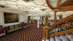 A rendering of Titanic's D-Deck Reception Room during the day