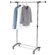 """Brushed Chrome Garment Rack adjustable in height (36""""-67"""") and width (34""""-54"""") to accommodate almost any length of garment and virtually any space."""