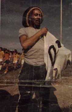 Bob Marley in Rio de Janeiro, wearing the shirt of Pelé from Santos football team. March 1980