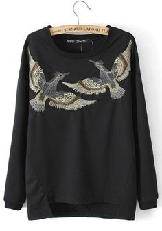 Black Animal Embroidery Round Neck Cotton Blend Sweatshirt
