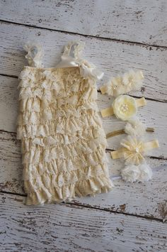 Petti Romper -  Ivory lace Romper and Headband Set - Girls Romper - Baby Romper - Ruffle Romper - Lace Dress - Baby Outfit on Etsy, $23.00