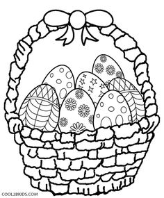 easter egg basket coloring page  coloring pages for kids  easter egg coloring pages coloring