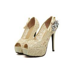 15.68$  Buy here  - New Fashion Women Pumps Peep Toe Stiletto Platform Lace Rhinestone Elegant High Heels Beige/Pink
