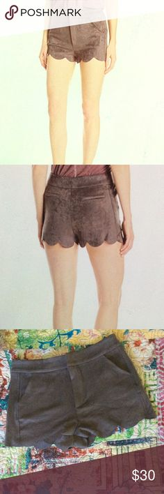 Awesome Paper crane Suede Scallop Shorts Amazing shorts with scalloped hem. Super soft suede with zipper and clasp closure. Real front pockets, fake back ones. Never been worn NWOT. BUNDLE & SAVE!! Paper Crane Shorts