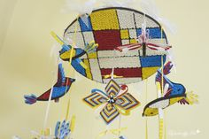 Mondrian inspired quilled baby mobile, handmade paper baby mobile, décor for adults and kids.