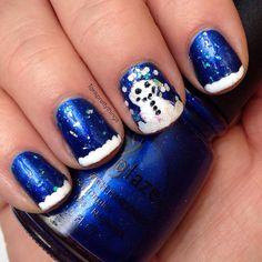 Snowman nails, winter nails, china glaze polish