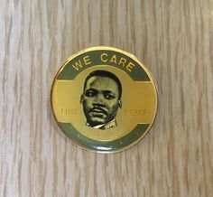 Martin Luther King Jr Lapel Pin | Round, Gold-tone | We Care | Peace, Love | Collectible | As IS by BrightEyedZombie on Etsy