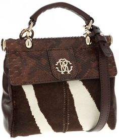 Roberto Cavalli Brown Snakeskin and Pony Hair Top Handle Bag with Shoulder Strap.