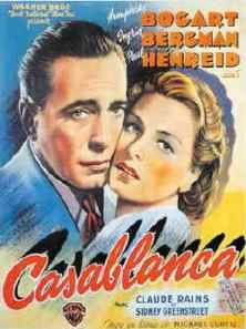 "Casablanca- ""Here's Looking at You Kid""- Rick ""With the whole world crumbling, we pick this time to fall in love.""- Ilsa ""Of all the gin joints in all the towns in all the world, she walks into mine.""- Rick"
