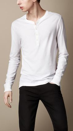 Cotton Jersey Garment Dyed Henley | Burberry