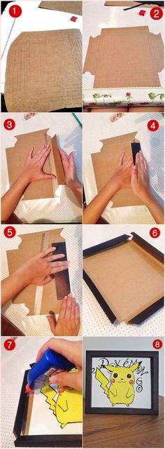 Karinisse: How to make cardboard photo frames - DiyPic. Diys, Wie Macht Man, Ideias Diy, Paper Frames, Diy Paper, Shadow Box, Diy Art, Diy And Crafts, Frame Crafts