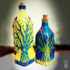 Par de garrafas em composé