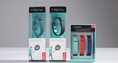 Fitbit Flex Packaging  The Flex package immediately stands out with its unique 360° view of the product. The graphics, overall shape, and look and feel of the design follow the FitBit line. Using a molded polycarbonate on the interior of the package, the FitBit Flex presents the devices as if it's floating on an invisible wrist, so the consumer can see it from all angles.