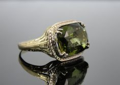 Art Nouveau Era Green Gold Ring with Fine Natural by MSJewelers, $1815.00