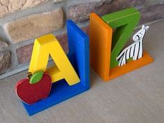 a to z kids room bookends. I can make this!