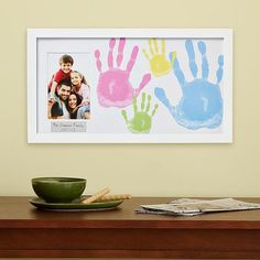"""Handprints of Love Frame Kit : Capture moments of family fun with our DIY handprint artwork and photo frame. They'll love making—and admiring—their """"handywork"""" for generations. Kids Crafts, Baby Crafts, Toddler Crafts, Diy And Crafts, Dog Crafts, Felt Crafts, Family Art Projects, Diy Projects, Footprint Art"""