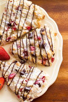 Chocolate Strawberry Scones with an Orange Glaze | A Latte Food