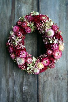 Wreath Crafts, Diy Wreath, Flower Crafts, Paper Christmas Ornaments, Christmas Wreaths, Dye Flowers, Flower Factory, Dried Flower Wreaths, Pressed Flower Art