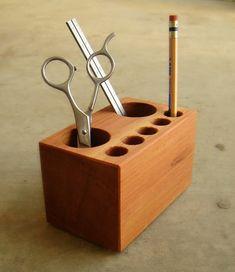 Office Desk Caddy  Pen Holder  Solid Wood  door andrewsreclaimed # pin maudjesstyling #