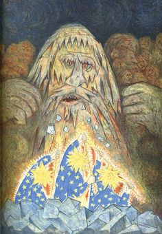Odin, Hoenir and Lodur slay the giant Ymir. From D'AULAIRE,INGRI & EDGAR. NORSE GODS AND GIANTS. NY: Doubleday (1967).
